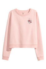 Sweatshirt with embroidery - Powder pink - Ladies | H&M CN 2