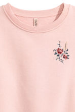 Sweatshirt with embroidery - Powder pink - Ladies | H&M CN 3