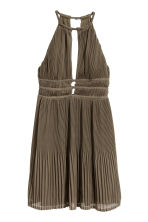 Pleated halterneck dress - Khaki green - Ladies | H&M 2