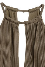 Pleated halterneck dress - Khaki green - Ladies | H&M CN 3