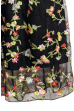 Embroidered mesh skirt - Black/Floral - Ladies | H&M CN 3