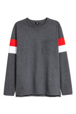 Long-sleeved T-shirt - Dark grey marl - Men | H&M 1