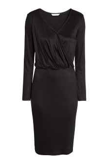 Long-sleeved wrapover dress