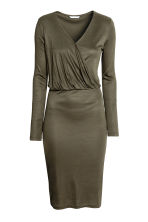 Long-sleeved wrapover dress - Dark khaki green -  | H&M CA 2