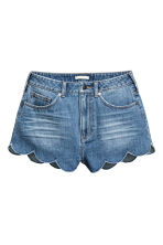 Denim scallop-hem shorts - Denim blue -  | H&M GB 2