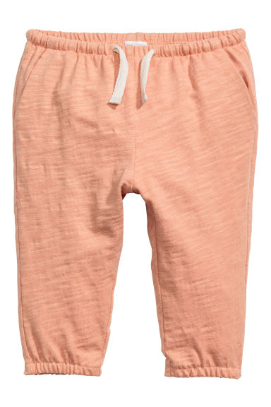 Slub cotton jersey trousers - Apricot - Kids | H&M 1