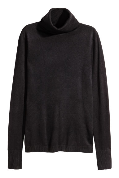 Fine-knit polo-neck jumper - Black - Ladies | H&M IE
