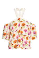 Off-the-shoulder top - Natural white/Floral - Ladies | H&M 2