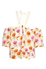 Off-the-shouldertop - Gebroken wit/bloemen - DAMES | H&M BE 3