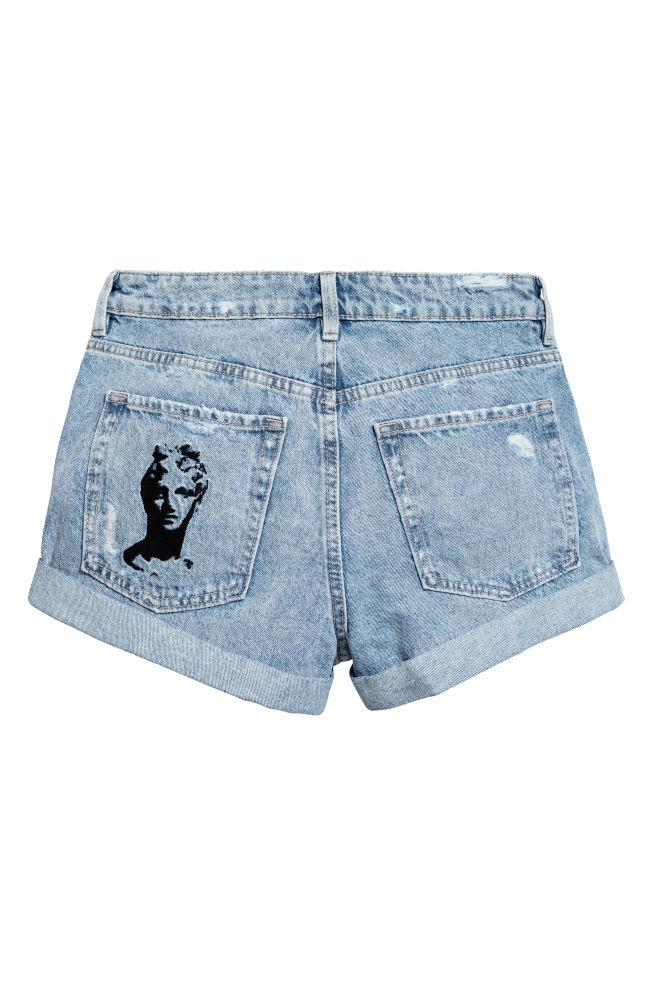 ... Embroidered denim shorts - Light denim blue - Ladies | H&M ...