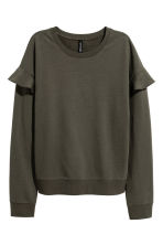 Flounced trim sweatshirt - Khaki green - Ladies | H&M CN 1