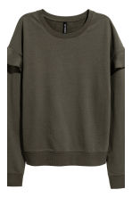 Flounced trim sweatshirt - Khaki green - Ladies | H&M CN 2