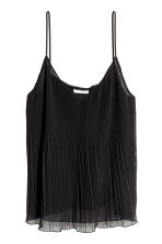 Pleated chiffon strappy top - Black - Ladies | H&M CN 2
