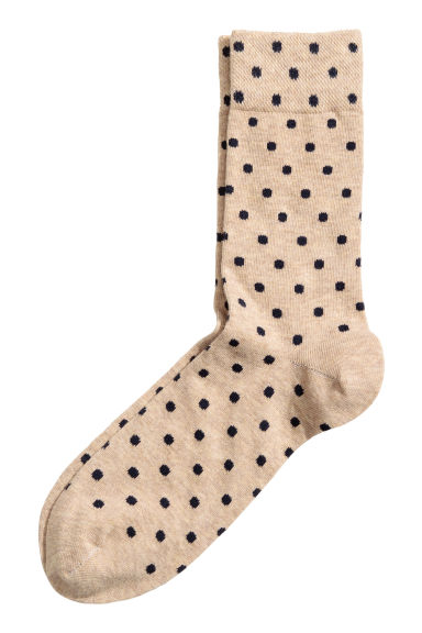 Spotted socks - Dark blue/Beige - Men | H&M 1