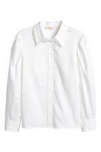 Cotton shirt with puff sleeves - White - Ladies | H&M CN 2