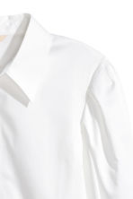 Cotton shirt with puff sleeves - White - Ladies | H&M 3