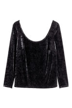 H&M+ Crushed velvet top - Black - Ladies | H&M 2