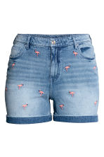 H&M+ Embroidered denim shorts - Light denim blue - Ladies | H&M 2