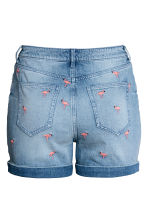 H&M+ Embroidered denim shorts - Light denim blue - Ladies | H&M 3
