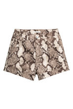High-waisted twill shorts - Snakeskin print - Ladies | H&M 2
