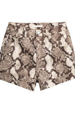 High-waisted twill shorts - Snakeskin print - Ladies | H&M 3