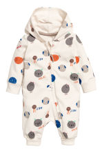 Hooded jersey all-in-one suit - Natural white/Patterned - Kids | H&M 1