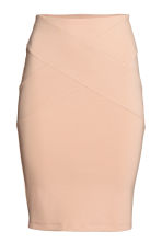 Jersey pencil skirt - Powder beige -  | H&M 2