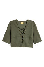 Top with lacing - Khaki green - Ladies | H&M CA 2