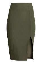 Ribbed jersey skirt - Khaki green - Ladies | H&M 2
