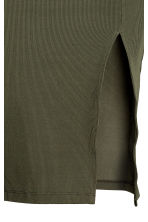Ribbed jersey skirt - Khaki green - Ladies | H&M 3