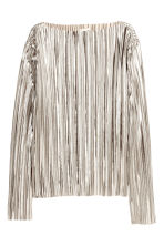 Pleated top - Silver -  | H&M CN 2