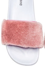 Faux fur slides - Light pink - Ladies | H&M CN 3