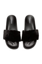 Faux fur slides - Black - Ladies | H&M CN 3