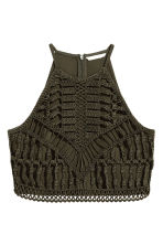 Ribbon-embroidered top - Dark khaki green -  | H&M 2