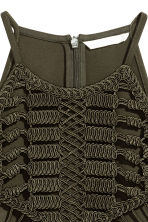 Ribbon-embroidered top - Dark khaki green -  | H&M 3