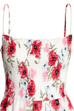 Smocked dress - White/Floral - Ladies | H&M CN 3