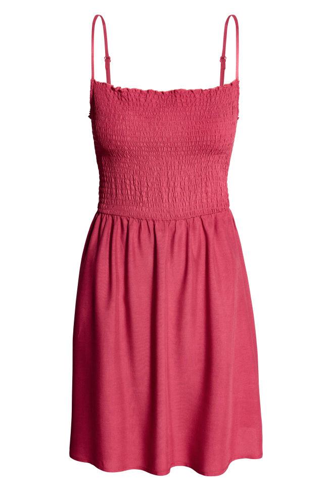 Vestido fruncido - Rojo frambuesa - | H&M ES