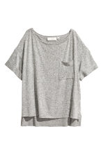 Wide T-shirt with chest pocket - Grey marl - Ladies | H&M 2