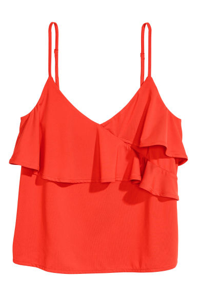 Flounced strappy top - Red - Ladies | H&M CN 1