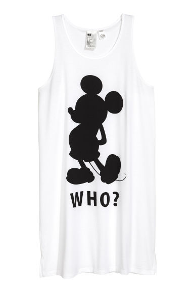 Jersey nightslip - White/Mickey Mouse - Ladies | H&M 1