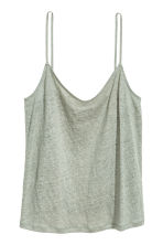 Linen strappy top - Dusky green - Ladies | H&M 2