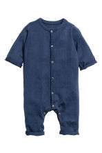 Silk-blend romper suit - Dark blue - Kids | H&M 2