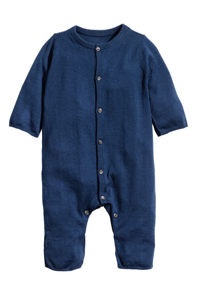 Silk-blend romper suit - Dark blue - Kids | H&M 1
