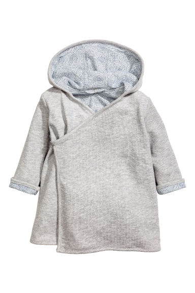 Hooded bath robe - Grey marl - Kids | H&M 1