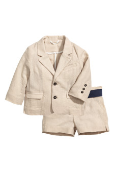 Linen-blend shorts and jacket