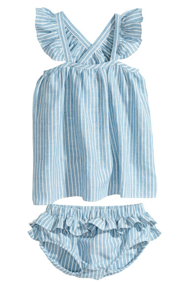 Dress and puff pants - Blue/White/Striped - Kids | H&M 1