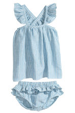 洋裝和燈籠短褲 - Blue/White/Striped - Kids | H&M 1