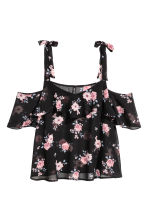 Chiffon top - Black/Floral - Ladies | H&M CN 2