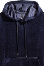 Velour hooded top - Dark blue - Ladies | H&M 3