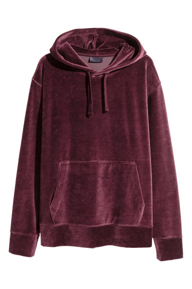 Velour hooded top - Burgundy - Men | H&M 1